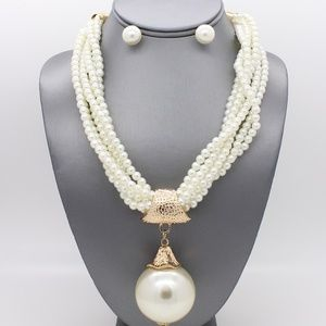 Multi-row Pearl Pendant Necklace